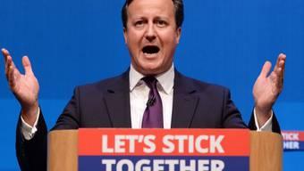 Der britische Premier Cameron bei seinem Auftritt in Aberdeen