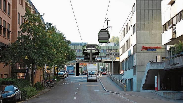Eine Gondelbahn durch Baden: Diese Idee verfolgt der Direktor der Regionalen Verkehrsbetriebe.