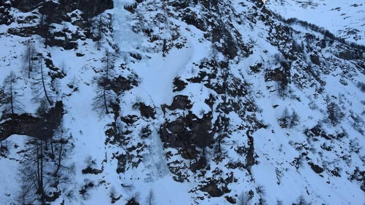 Die Wand, an welcher der Eiskletterer aus Italien tödlich verunglückte.