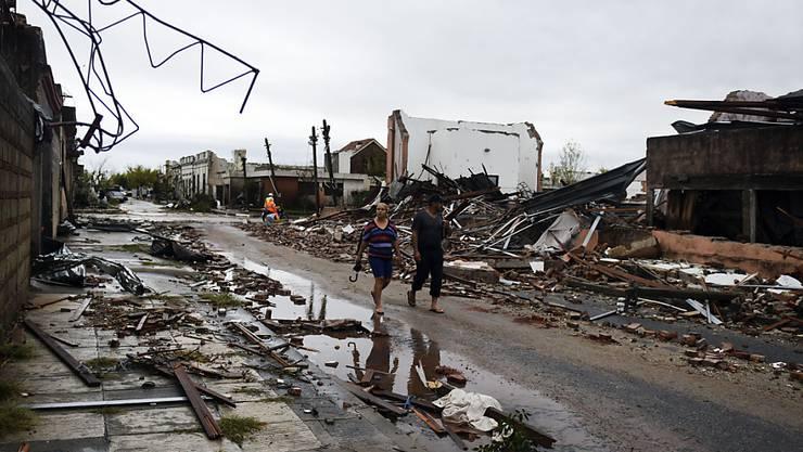 Der Sturm richtete in der Ortschaft Dolores schwere Schäden an