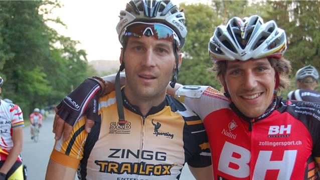 Michael Kyburz (rechts) gewann vor Michael Lüthy das fünfte Brugger Abendrennen