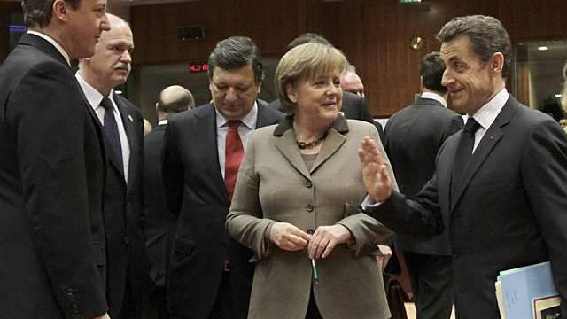 Cameron, Papandreou, Barroso, Merkel und Sarkozy am EU-Sondergipfel