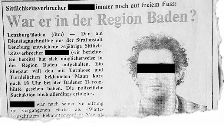 U. B. betäubte junge Mädchen mithilfe von Chloroform und missbrauchte sie. ( «Badener Tagblatt», 19. Juni 1980)