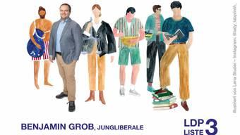 Schwimmen, kochen und lesen: Auf seinem Flyer zeigt Jungliberale-Präsident Benjamin Grob seine Vorlieben.