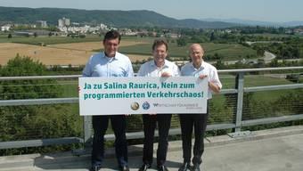 Christoph Buser (Wirtschaftskammer Baselland) Christian Greif (ACS beider Basel) und Lukas Ott (TCS beider Basel)