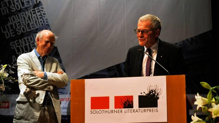Franz Hohler und der Solothurner Stadtpräsident Kurt Fluri