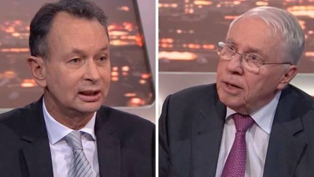 Stritten am Montagabend nacheinander und irgendwie doch miteinander über die Umsetzung der Masseneinwanderungs-Initiative: Philipp Müller und Christoph Blocher.