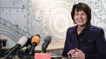 Bundesrätin Doris Leuthard verabschiedet sich mit einer letzten Medienkonferenz.