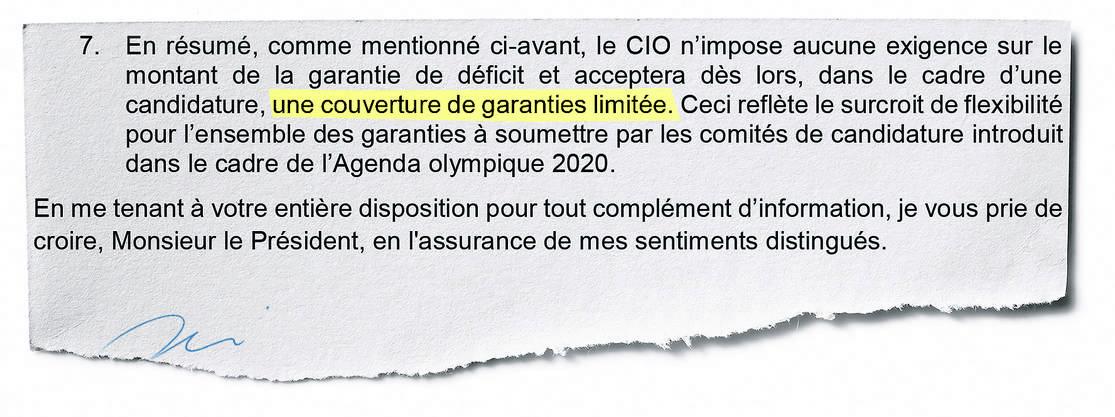 Ausriss aus dem Brief, datiert vom 27. Oktober, von Christophe Dubi (IOC) an Jean-Philippe Rochat (Komitee Sion 2026).
