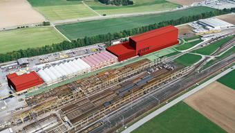 So soll das Bahntechnikcenter dereinst aussehen: In Rot die Neubauten Büro- und Kantinengebäude (links) sowie der Zwischenbau und das Hochregallager (rechts).