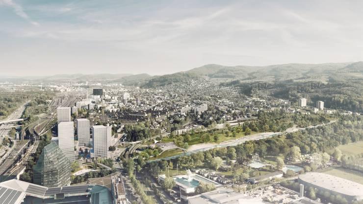 Blick über den gesamten Projektperimeter. Links die Hochhäuser auf der Hagnau. Rechts davon der neue Park, der anstelle der heutigen Pferderennbahn erstellt wird.
