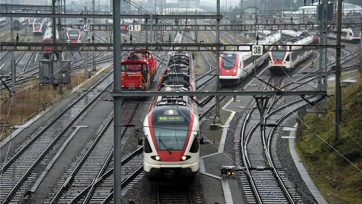 Vor der Einfahrt in den Basler Bahnhof SBB warten die Züge. Das Herzstück soll mehr Platz für Fern-, Nah- und Güterverkehr schaffen.