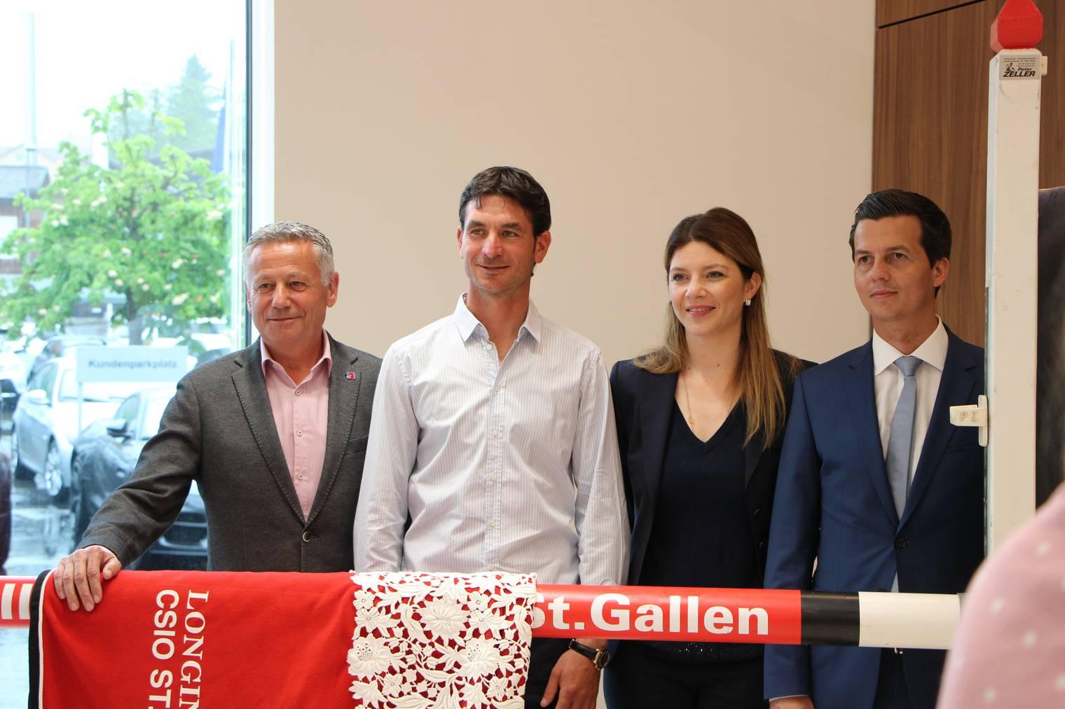Equipenchef Andy Kistler, Springreiter Steve Guerdat, Nayla Stössel und Sportchef Thomas Zweifel präsentieren das Programm des CSIO St.Gallen.