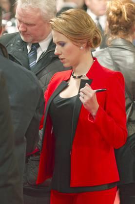 """An der französischen Premiere von """"Captain America: The Winter Soldier"""" Mitte März 2014 in Paris war Johansson bereits schwanger."""