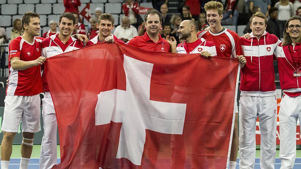 Das Schweizer Davis-Cup-Team trifft auf Kasachstan.