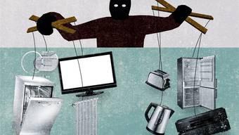 Vernetzte Alltagsgegenstände sind oft kaum gesichert: Für Hacker ist es ein Leichtes, aus der Ferne auf sie zuzugreifen. Illustration: Patric Sandri