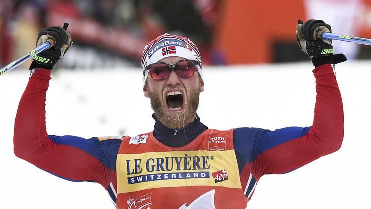 Norwegen jubelt so oft wie keine andere Wintersport-Nation: Langläufer Martin Johnsrud Sundby nach dem Gewinn der Tour de Ski.