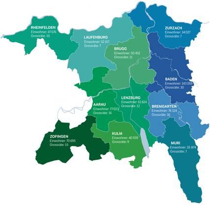 Die elf Bezirke des Kantons Aargau