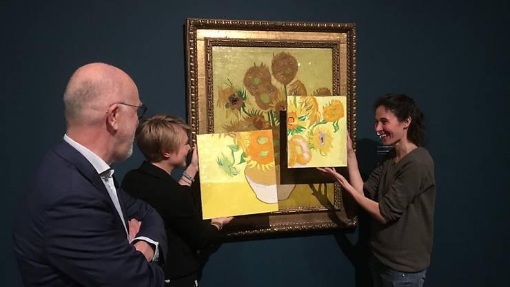 """Ein Rot-Ton verblasste, ein gelber Farbton dunkelte nach. Wie sehr die """"Sonnenblumen"""" früher strahlten, lassen zwei Gemälde der Künstlerin Charlotte Caspers erahnen, die sich auf neue Forschungsergebnisse stützen."""