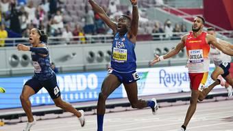 Grant Holloway freut sich riesig nach dem Sieg über 110 m Hürden