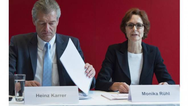 Economiesuisse-Spitze: Heinz Karrer und Monika Rühl. Foto: Keystone
