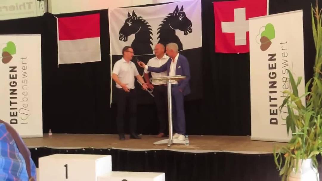 Gemeindepräsident Bruno Eberhard (links), Bürgergemeindepräsident Martin Kofmel und Dani Fohrler zur 775-Jahr-Feier