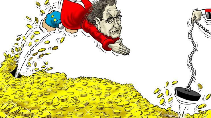Karikatur über Geri Müllers Jahressalär.