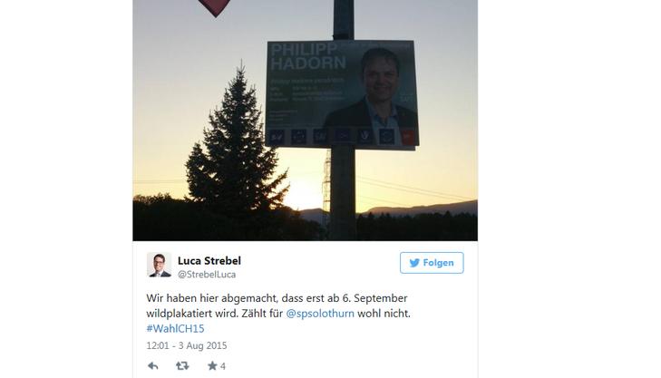 Luca Strebel (CVP) ist über das aufgehängte Plakat von Philipp Hadorn (SP) gar nicht erfreut.