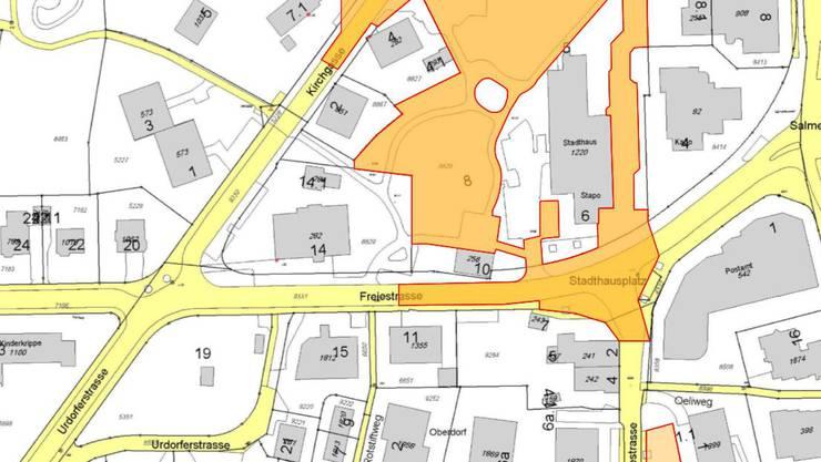 Im orangefarbenen Bereich findet die Chilbi 2017 und 2018 statt.