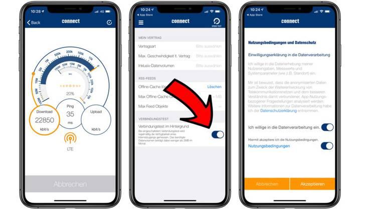 Mithilfe der «Connect»-App wurde versucht, einen Handy-Netztest zu manipulieren.