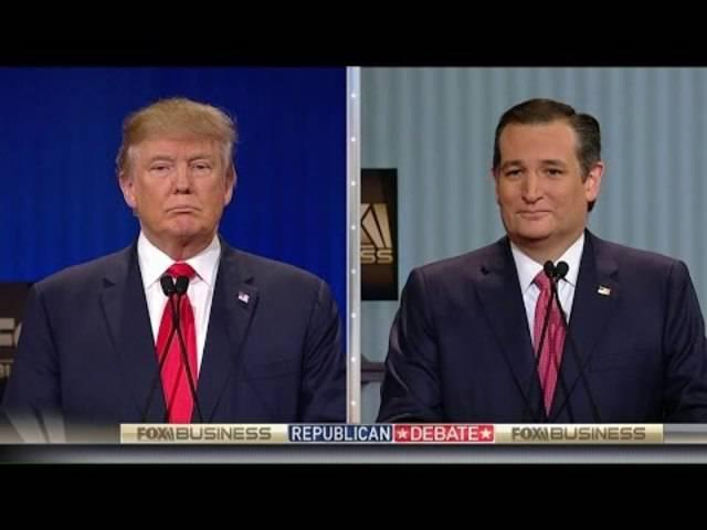 Donald Trump und Ted Cruz zoffen sich während der TV-Debatte über die Herkunft