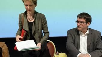 Simonetta Sommaruga (l.) und SP-Präsident Christian Levrat