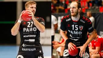 Die HSC-Spieler Tim Aufdenblatten (r.) und Sergio Muggli haben sich beim 27:25-Sieg gegen die Kadetten Schaffhausen Verletzungen zugezogen.