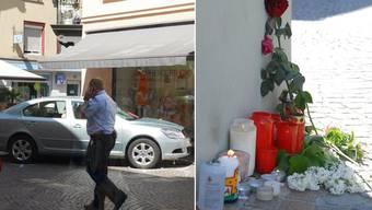 Blumen erinnern am Sonntagmorgen an den schrecklichen Unfall vom Samstagnachmittag in Bad Säckingen