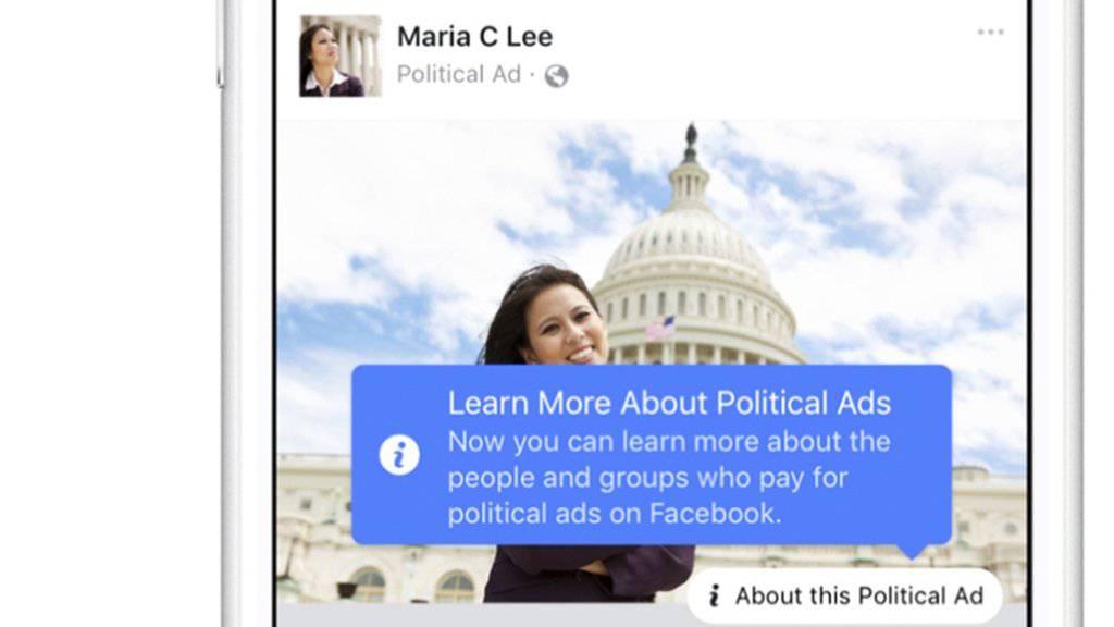 Werbung auf Facebook soll transparenter werden. Dies kündigte das soziale Netzwerk im Zusammenhang mit der Russland-Affäre an. (Illustration/Archiv)