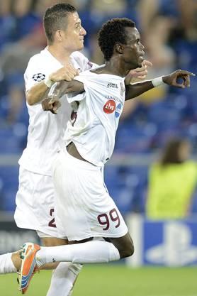Sougou bejubelt sein zweites Tor gegen den FCB.