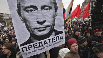 «Prjedatjel – Verräter» – nach der Wahl 2011 gab es Proteste.A. MALTSEV/KEY