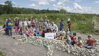 Schulklassen bauen Steinechsen für bedrohte Tierarten