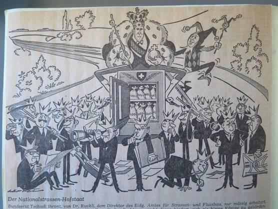 Illustration aus dem «Tages-Anzeiger» vom 26. Juni 1967: Bundesrat Tschudi thront, von Amtsdirektor Ruckli nur mässig erheitert, über den kantonalen Baudirektoren.