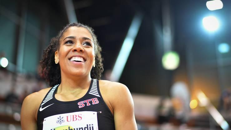 Mujinga Kambundji egalisierte über 60 m in 7,08 Sekunden die Jahresweltbestzeit der Polin Ewa Swoboda.