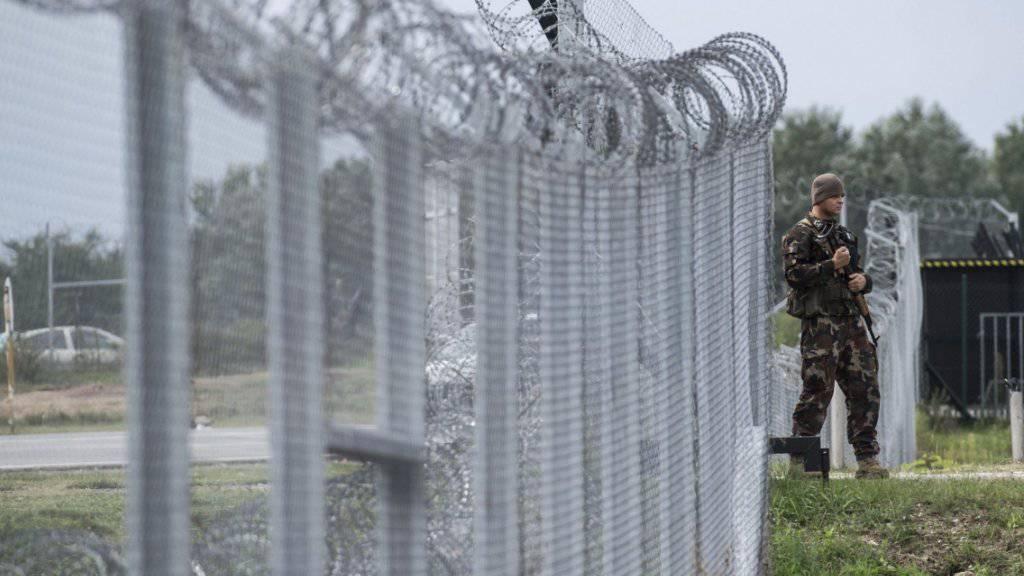 Zäune und Transitzonen gegen Flüchtlinge: Soldat an der Transitzone mit Serbien in der Nähe von Tompa.