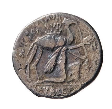 Der Denar aus Silber, der in der Römerstadt Augusta Raurica gefunden wurde, zeigt ein Dromedar, vor dem ein nabatäischer König kniet.