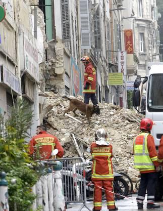 Nach dem Einsturz zweier Gebäude in Marseille bleiben nur Schutt und Trümmer übrig - Rettungskräfte suchen mit Hunden nach Verschütteten.