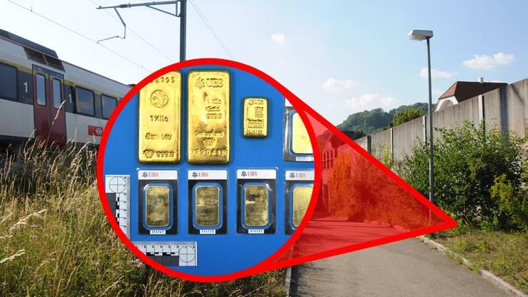 Hier wurden 2012 die Goldbarren entdeckt: Der Fundort befindet sich an einem Fussweg zwischen Bahnlinie und Umfahrungsstrasse.