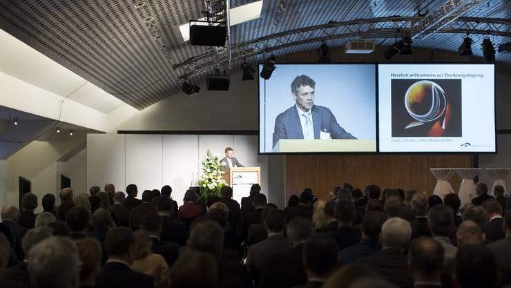 Fredy Greuter, Leiter Medieninstitute, spricht während der Dreikönigstagung des Medieninstitutes am Dienstag, 6. Januar 2015, im World Trade Center in Zürich