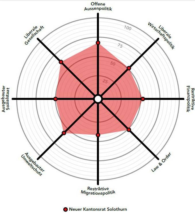 Der Smartspider zeigt die politische Positionierung des «Durchschnitts-Parlamentariers» aller 100 effektiv Gewählten.