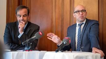 Initiativchef Stefan Müller-Altermatt (rechts) und CVP-Präsident Gerhard Pfister.