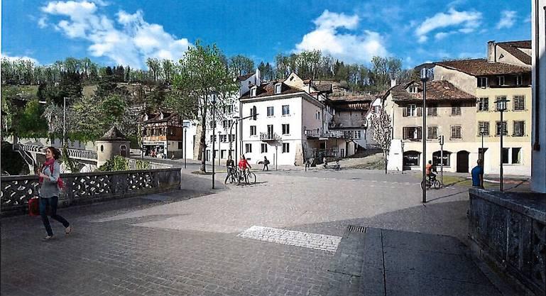 Die Visualisierung zeigt die geplante Gestaltung des Bereichs Aarebrücke in Richtung Zollplätzli.