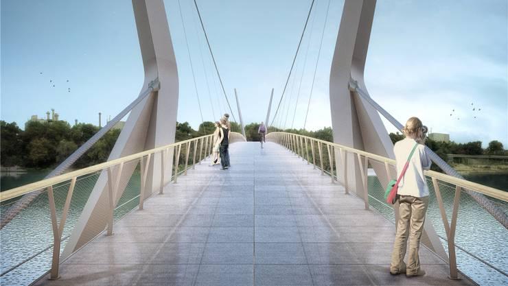 Derzeit ist wieder offen, ob der Rheinsteg gebaut wird. Grund dafür sind die höheren Kosten. (Visualisierung: Render-Manufaktur)