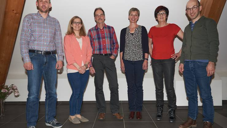 Foto von links nach rechts: Marc Widmer, Anita Schoch (neu), Christian Schacher, Anne-Marie Bucher (neu), Evelyne Scheuss, Manuel Habegger (neu)